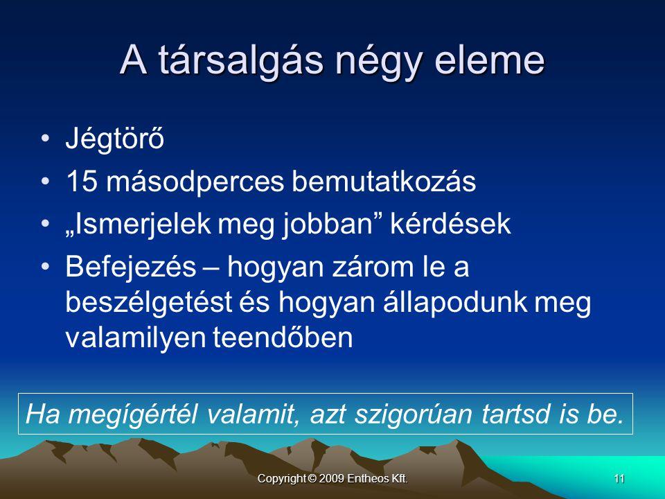 """Copyright © 2009 Entheos Kft.11 A társalgás négy eleme •Jégtörő •15 másodperces bemutatkozás •""""Ismerjelek meg jobban"""" kérdések •Befejezés – hogyan zár"""