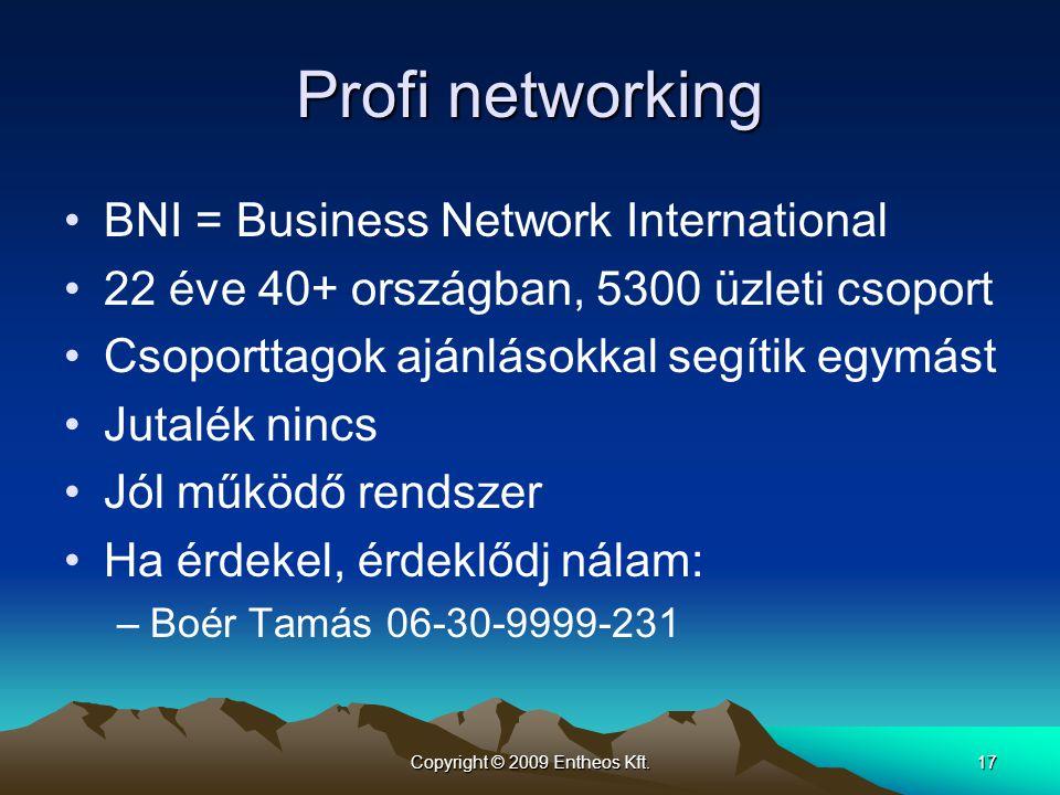 Copyright © 2009 Entheos Kft.17 Profi networking •BNI = Business Network International •22 éve 40+ országban, 5300 üzleti csoport •Csoporttagok ajánlá