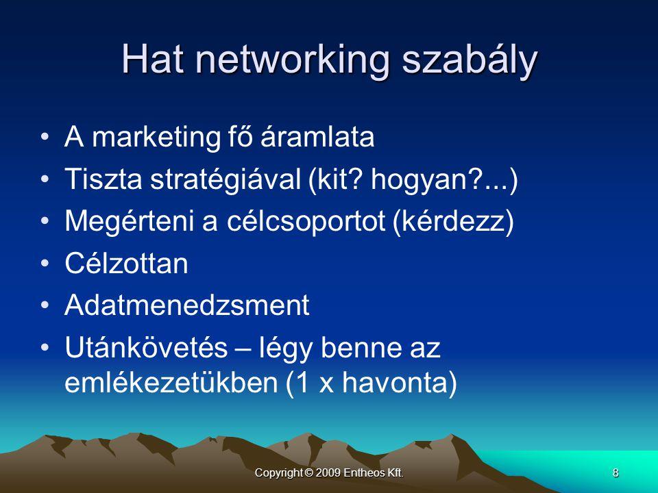 Copyright © 2009 Entheos Kft.8 Hat networking szabály •A marketing fő áramlata •Tiszta stratégiával (kit? hogyan?...) •Megérteni a célcsoportot (kérde