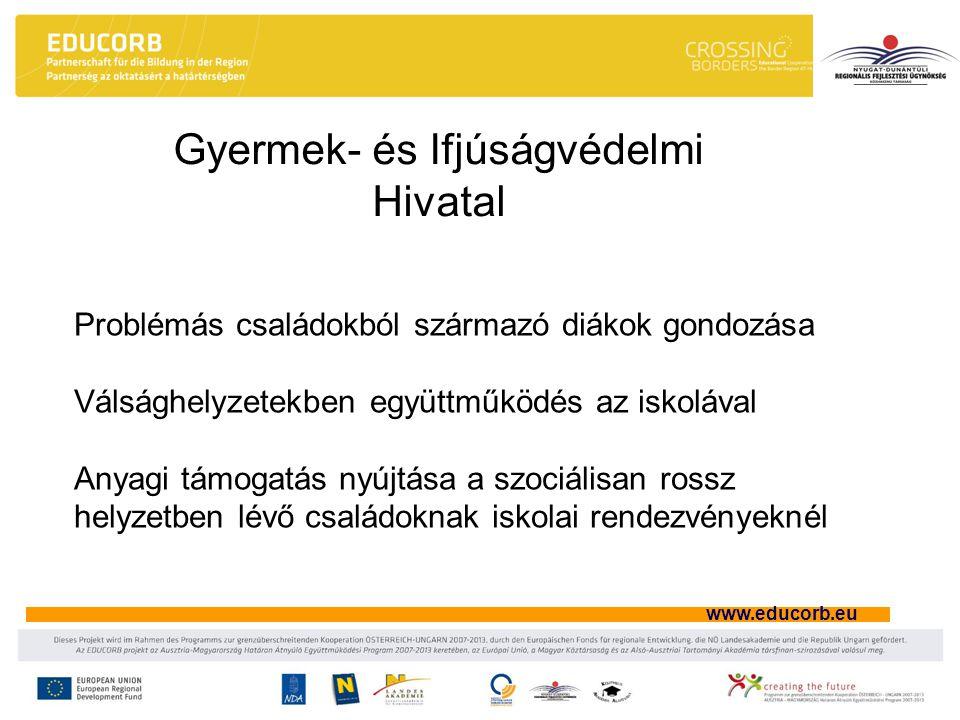 www.educorb.eu Gyermek- és Ifjúságvédelmi Hivatal Problémás családokból származó diákok gondozása Válsághelyzetekben együttműködés az iskolával Anyagi támogatás nyújtása a szociálisan rossz helyzetben lévő családoknak iskolai rendezvényeknél