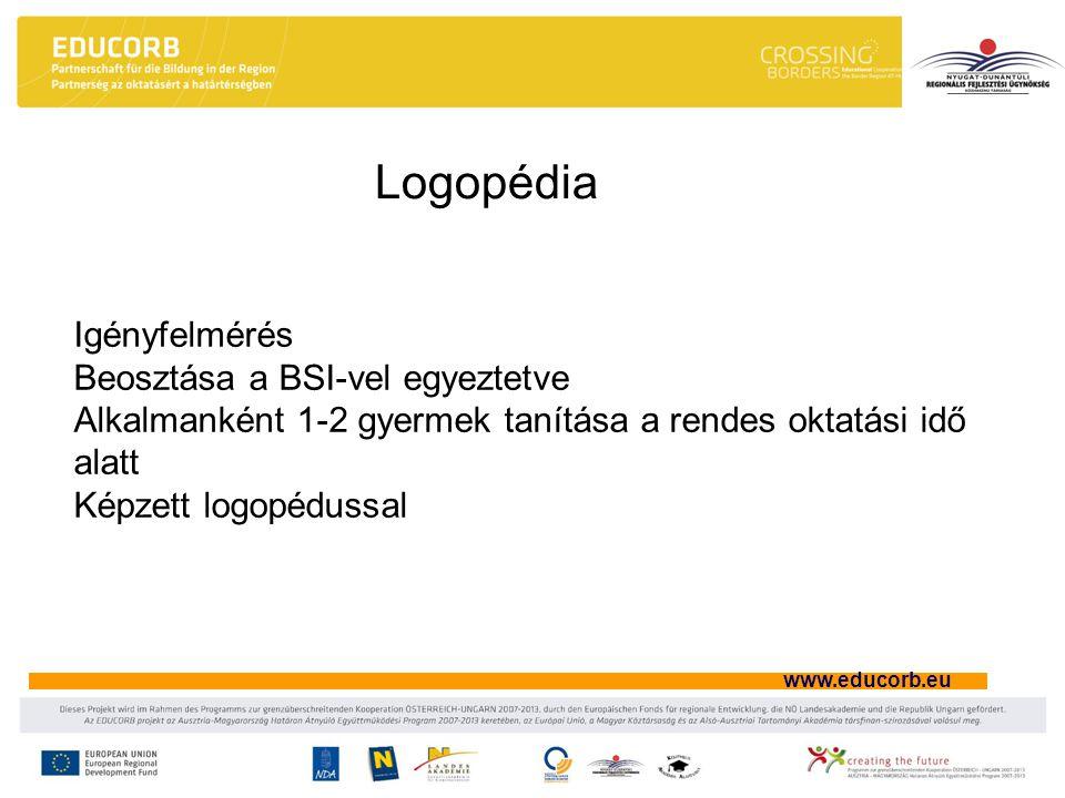 www.educorb.eu Logopédia Igényfelmérés Beosztása a BSI-vel egyeztetve Alkalmanként 1-2 gyermek tanítása a rendes oktatási idő alatt Képzett logopédussal