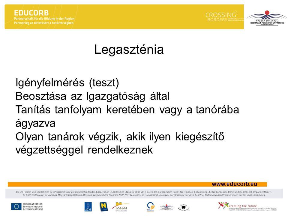 www.educorb.eu Legaszténia Igényfelmérés (teszt) Beosztása az Igazgatóság által Tanítás tanfolyam keretében vagy a tanórába ágyazva Olyan tanárok végzik, akik ilyen kiegészítő végzettséggel rendelkeznek