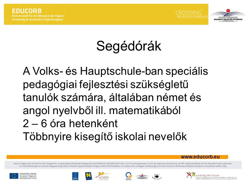 www.educorb.eu Segédórák A Volks- és Hauptschule-ban speciális pedagógiai fejlesztési szükségletű tanulók számára, általában német és angol nyelvből ill.