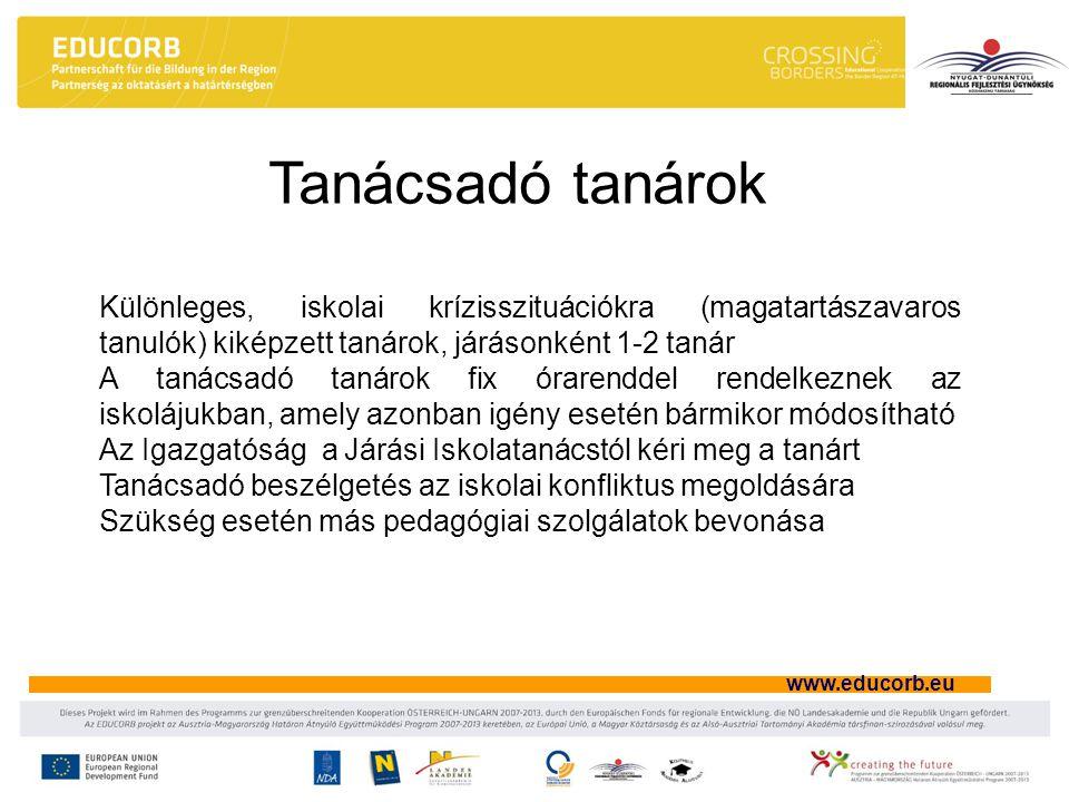 www.educorb.eu Tanácsadó tanárok Különleges, iskolai krízisszituációkra (magatartászavaros tanulók) kiképzett tanárok, járásonként 1-2 tanár A tanácsadó tanárok fix órarenddel rendelkeznek az iskolájukban, amely azonban igény esetén bármikor módosítható Az Igazgatóság a Járási Iskolatanácstól kéri meg a tanárt Tanácsadó beszélgetés az iskolai konfliktus megoldására Szükség esetén más pedagógiai szolgálatok bevonása