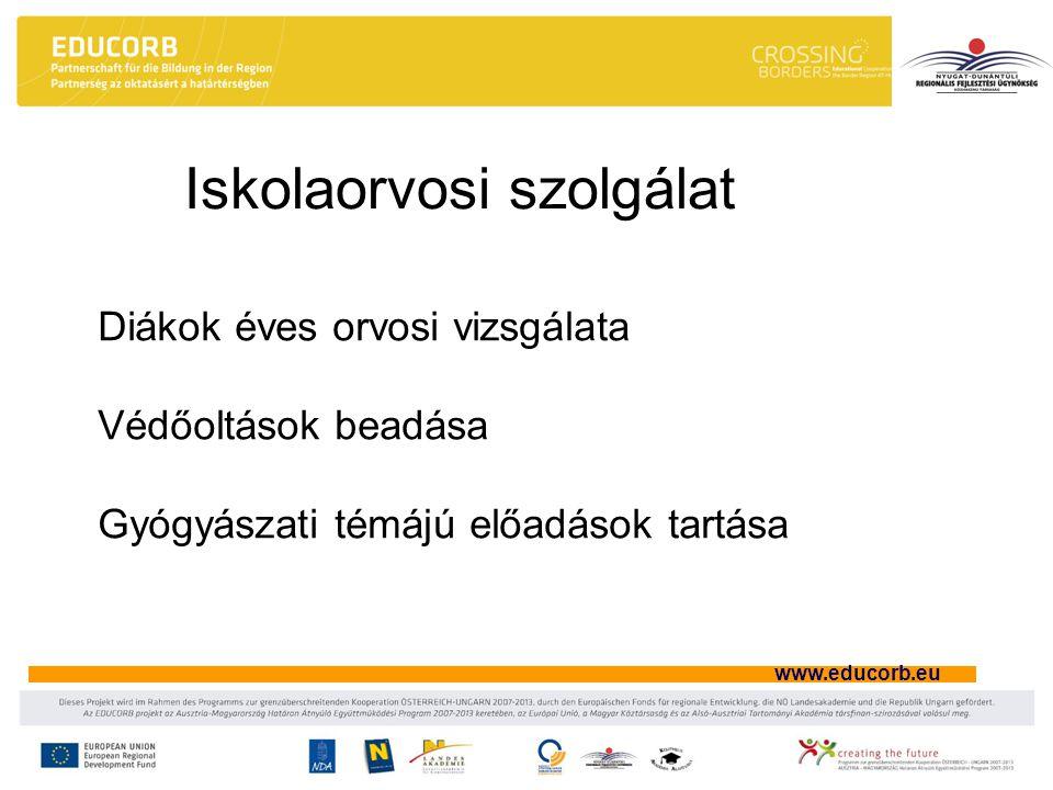 www.educorb.eu Iskolaorvosi szolgálat Diákok éves orvosi vizsgálata Védőoltások beadása Gyógyászati témájú előadások tartása