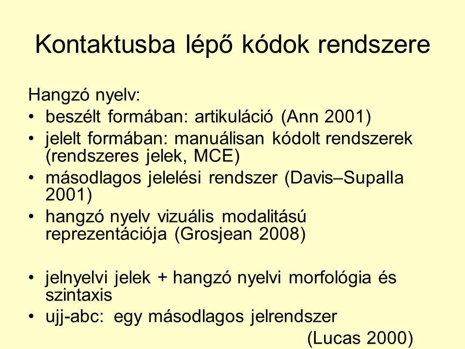 Kontaktusba lépő kódok rendszere Hangzó nyelv: •beszélt formában: artikuláció (Ann 2001) •jelelt formában: manuálisan kódolt rendszerek (rendszeres jelek, MCE) •másodlagos jelelési rendszer (Davis–Supalla 2001) •hangzó nyelv vizuális modalitású reprezentációja (Grosjean 2008) •jelnyelvi jelek + hangzó nyelvi morfológia és szintaxis •ujj-abc: egy másodlagos jelrendszer (Lucas 2000)