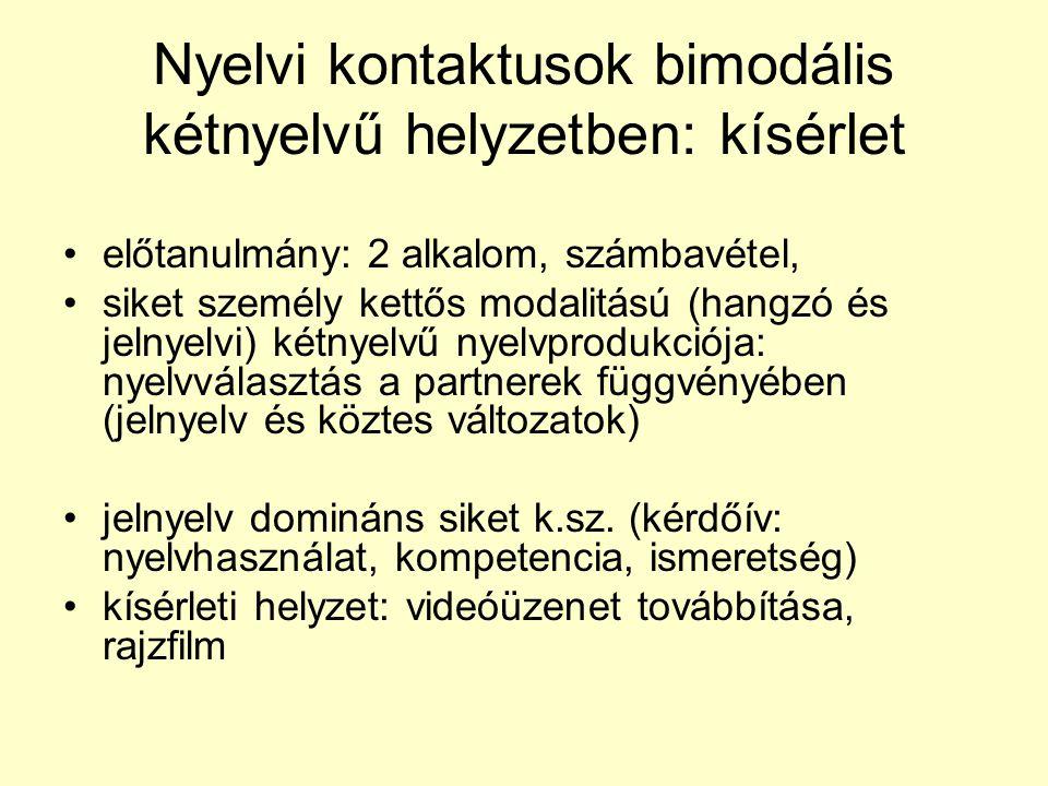 Nyelvi kontaktusok bimodális kétnyelvű helyzetben: kísérlet •előtanulmány: 2 alkalom, számbavétel, •siket személy kettős modalitású (hangzó és jelnyelvi) kétnyelvű nyelvprodukciója: nyelvválasztás a partnerek függvényében (jelnyelv és köztes változatok) •jelnyelv domináns siket k.sz.