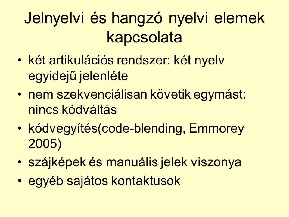 Jelnyelvi és hangzó nyelvi elemek kapcsolata •két artikulációs rendszer: két nyelv egyidejű jelenléte •nem szekvenciálisan követik egymást: nincs kódváltás •kódvegyítés(code-blending, Emmorey 2005) •szájképek és manuális jelek viszonya •egyéb sajátos kontaktusok