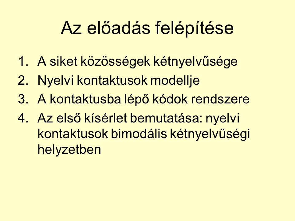Az előadás felépítése 1.A siket közösségek kétnyelvűsége 2.Nyelvi kontaktusok modellje 3.A kontaktusba lépő kódok rendszere 4.Az első kísérlet bemutatása: nyelvi kontaktusok bimodális kétnyelvűségi helyzetben