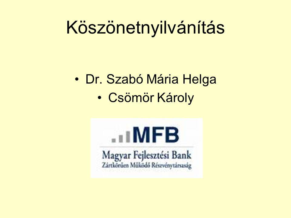 Köszönetnyilvánítás •Dr. Szabó Mária Helga •Csömör Károly