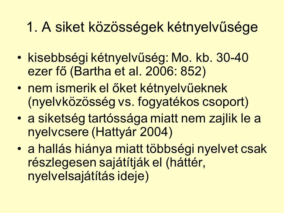 1. A siket közösségek kétnyelvűsége •kisebbségi kétnyelvűség: Mo. kb. 30-40 ezer fő (Bartha et al. 2006: 852) •nem ismerik el őket kétnyelvűeknek (nye