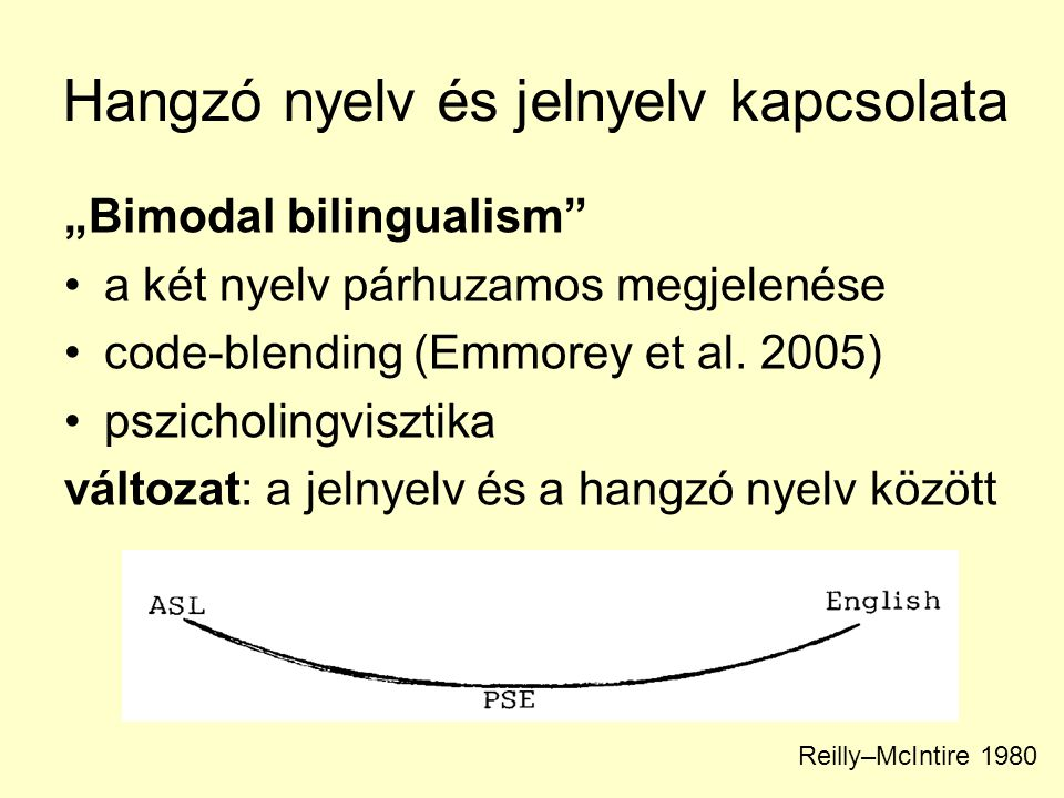 """Hangzó nyelv és jelnyelv kapcsolata """"Bimodal bilingualism"""" •a két nyelv párhuzamos megjelenése •code-blending (Emmorey et al. 2005) •pszicholingviszti"""