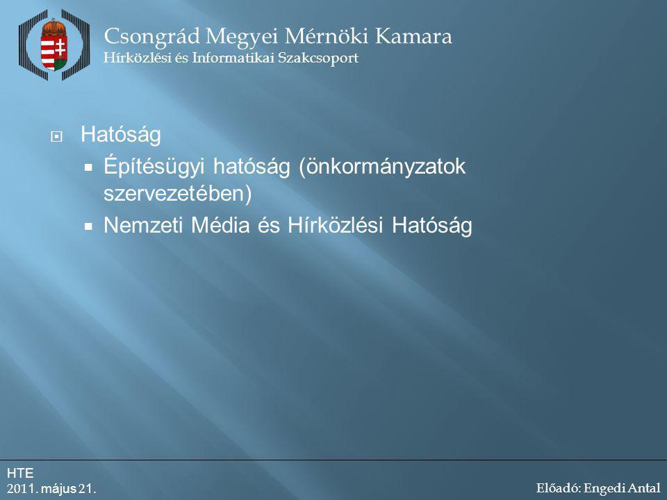  Hatóság  Építésügyi hatóság (önkormányzatok szervezetében)  Nemzeti Média és Hírközlési Hatóság Csongrád Megyei Mérnöki Kamara Hírközlési és Informatikai Szakcsoport HTE 201 1.