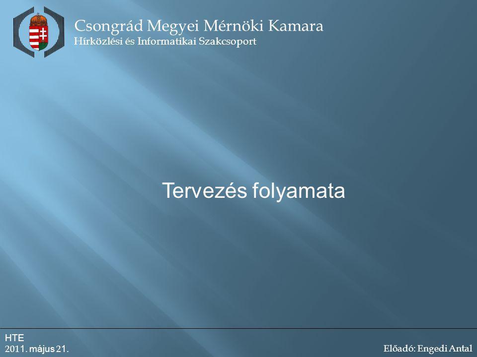 Tervezés folyamata Csongrád Megyei Mérnöki Kamara Hírközlési és Informatikai Szakcsoport HTE 201 1.