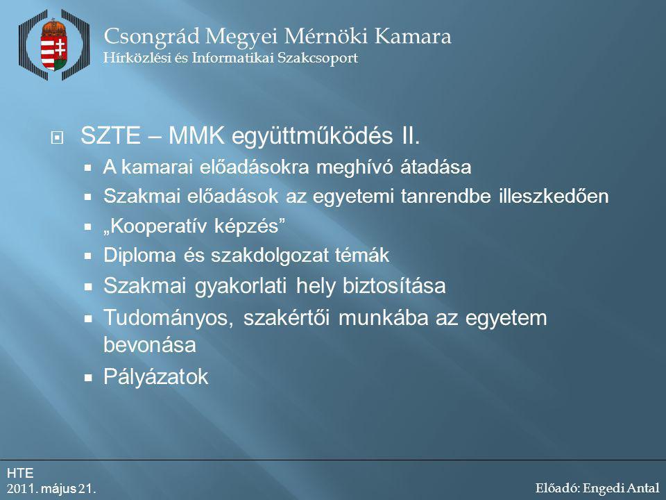  SZTE – MMK együttműködés II.