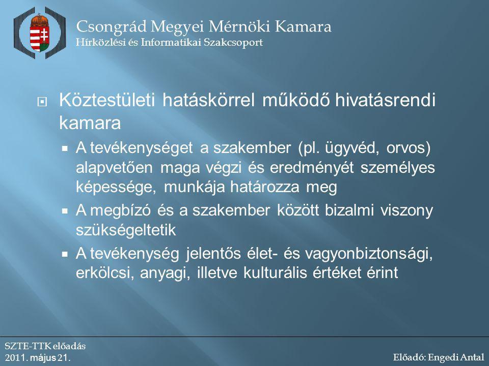 Köztestületi hatáskörrel működő hivatásrendi kamara  A tevékenységet a szakember (pl.