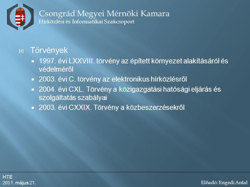  Törvények  1997.évi LXXVIII. törvény az épített környezet alakításáról és védelméről  2003.