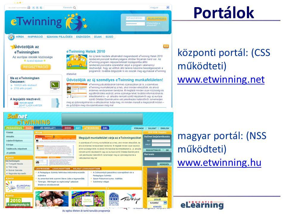 Portálok magyar portál: (NSS működteti) www.etwinning.hu központi portál: (CSS működteti) www.etwinning.net