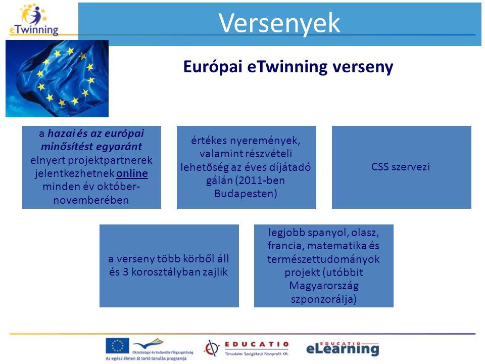 Európai eTwinning verseny Versenyek a hazai és az európai minősítést egyaránt elnyert projektpartnerek jelentkezhetnek online minden év október- novem