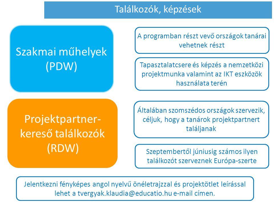 A programban részt vevő országok tanárai vehetnek részt Tapasztalatcsere és képzés a nemzetközi projektmunka valamint az IKT eszközök használata terén