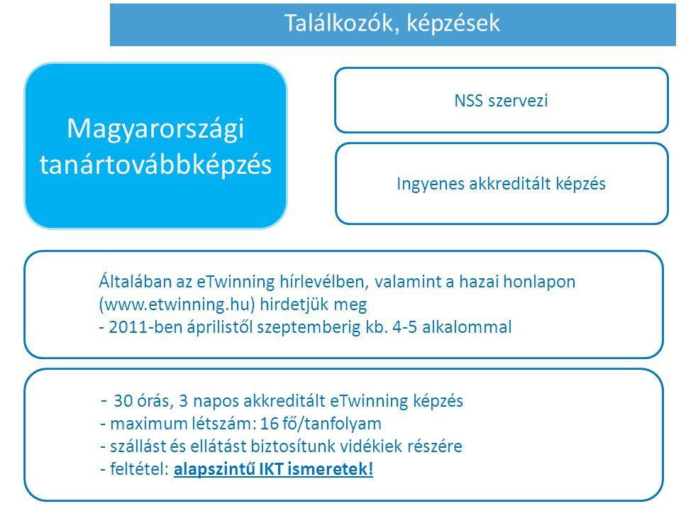 NSS szervezi Ingyenes akkreditált képzés Általában az eTwinning hírlevélben, valamint a hazai honlapon (www.etwinning.hu) hirdetjük meg - 2011-ben ápr