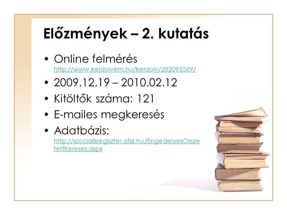 Előzmények – 2. kutatás •Online felmérés http://www.kerdoivem.hu/kerdoiv/282095589/ http://www.kerdoivem.hu/kerdoiv/282095589/ •2009.12.19 – 2010.02.1