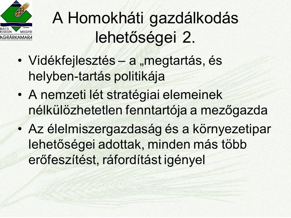 A Homokháti gazdálkodás lehetőségei 2.
