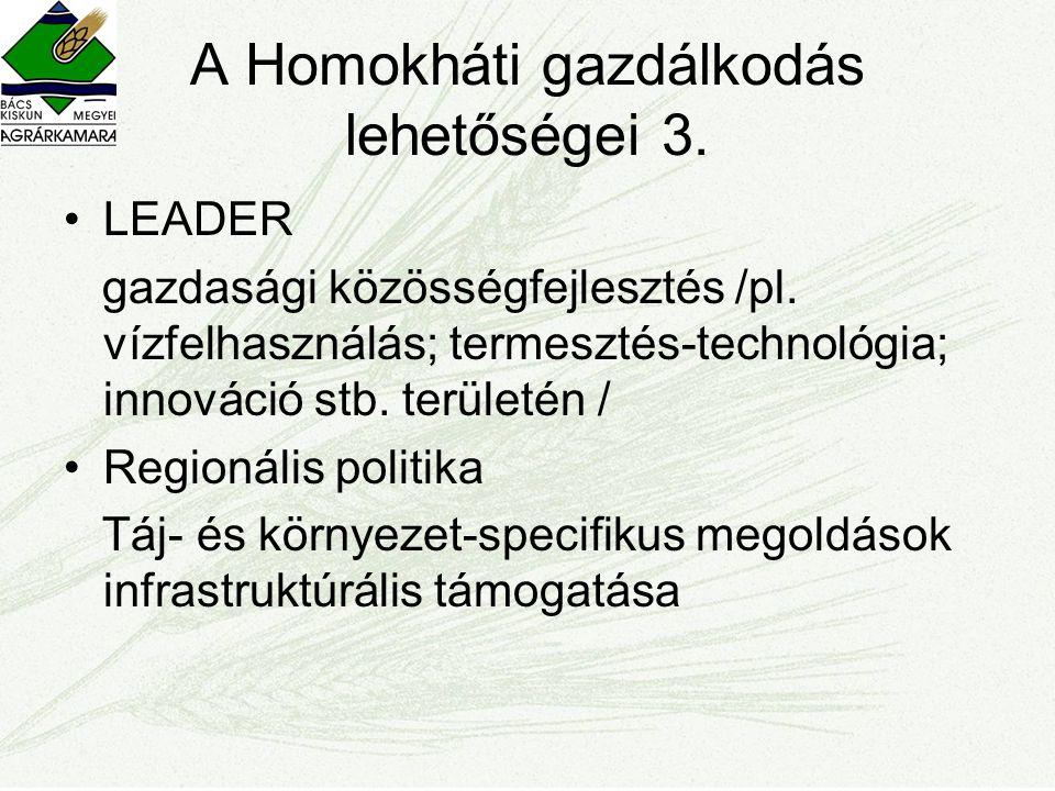 A Homokháti gazdálkodás lehetőségei 3. •LEADER gazdasági közösségfejlesztés /pl. vízfelhasználás; termesztés-technológia; innováció stb. területén / •