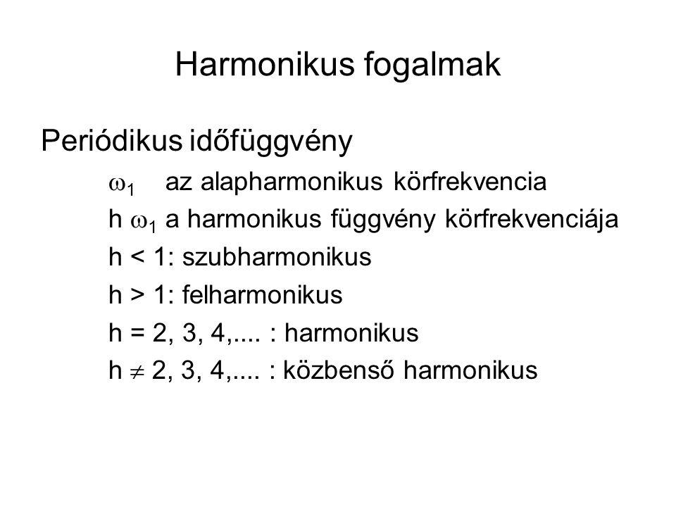 Harmonikus fogalmak Periódikus időfüggvény  1 az alapharmonikus körfrekvencia h  1 a harmonikus függvény körfrekvenciája h < 1: szubharmonikus h > 1