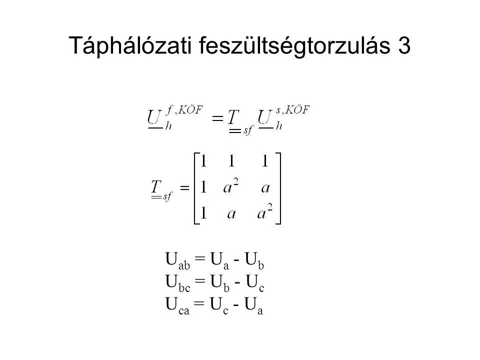 Táphálózati feszültségtorzulás 3 U ab = U a - U b U bc = U b - U c U ca = U c - U a