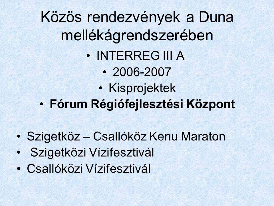 Közös rendezvények a Duna mellékágrendszerében •INTERREG III A •2006-2007 •Kisprojektek •Fórum Régiófejlesztési Központ •Szigetköz – Csallóköz Kenu Maraton • Szigetközi Vízifesztivál •Csallóközi Vízifesztivál