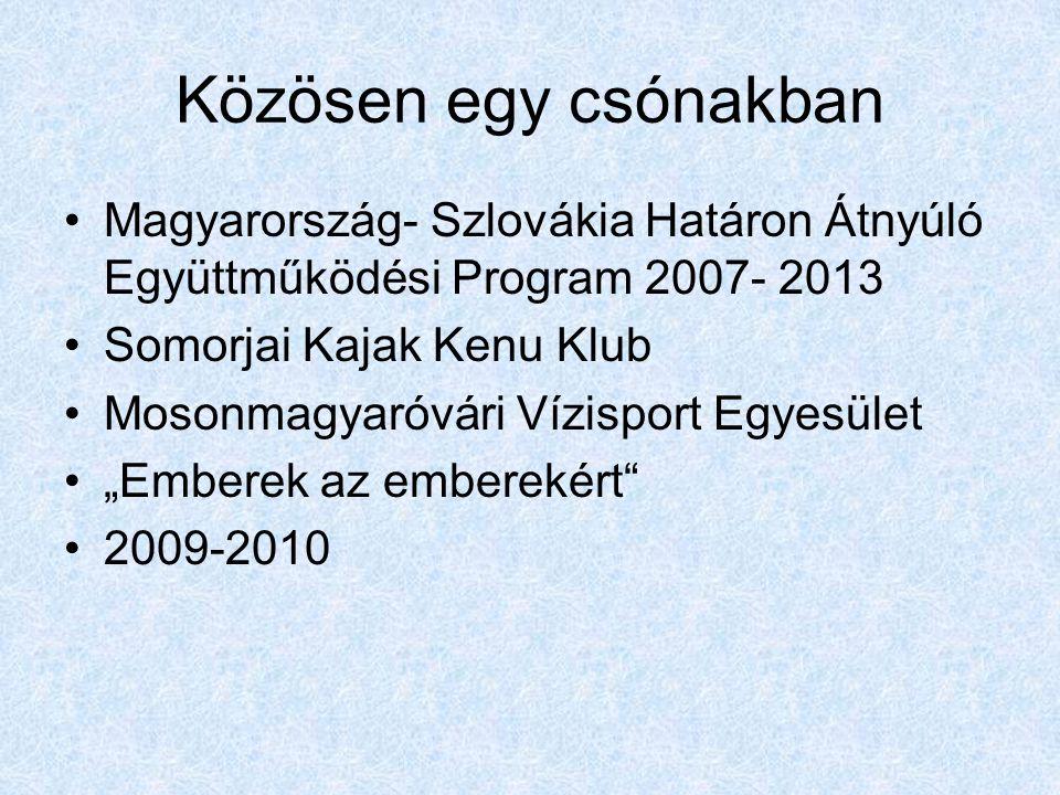 """Közösen egy csónakban •Magyarország- Szlovákia Határon Átnyúló Együttműködési Program 2007- 2013 •Somorjai Kajak Kenu Klub •Mosonmagyaróvári Vízisport Egyesület •""""Emberek az emberekért •2009-2010"""