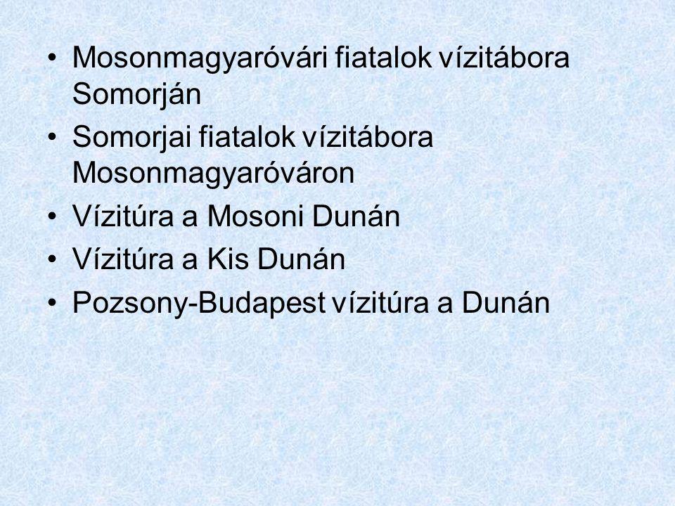 •Mosonmagyaróvári fiatalok vízitábora Somorján •Somorjai fiatalok vízitábora Mosonmagyaróváron •Vízitúra a Mosoni Dunán •Vízitúra a Kis Dunán •Pozsony-Budapest vízitúra a Dunán