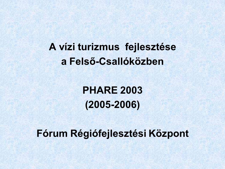 A vízi turizmus fejlesztése a Felső-Csallóközben PHARE 2003 (2005-2006) Fórum Régiófejlesztési Központ