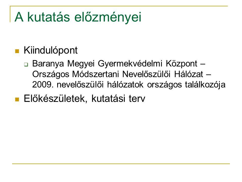 A kutatás előzményei  Kiindulópont  Baranya Megyei Gyermekvédelmi Központ – Országos Módszertani Nevelőszülői Hálózat – 2009. nevelőszülői hálózatok
