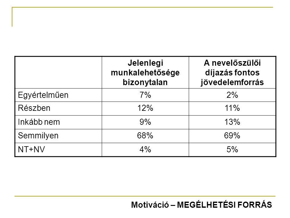 Jelenlegi munkalehetősége bizonytalan A nevelőszülői díjazás fontos jövedelemforrás Egyértelműen7%2% Részben12%11% Inkább nem9%13% Semmilyen68%69% NT+NV4%5% Motiváció – MEGÉLHETÉSI FORRÁS