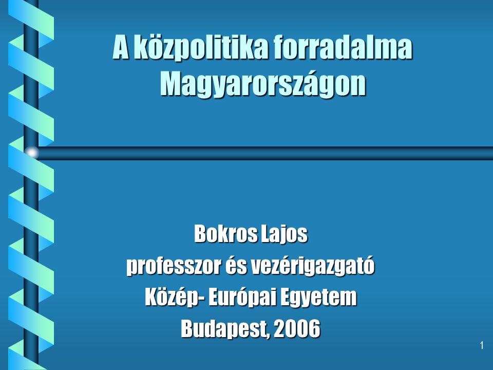 1 A közpolitika forradalma Magyarországon Bokros Lajos professzor és vezérigazgató Közép- Európai Egyetem Budapest, 2006