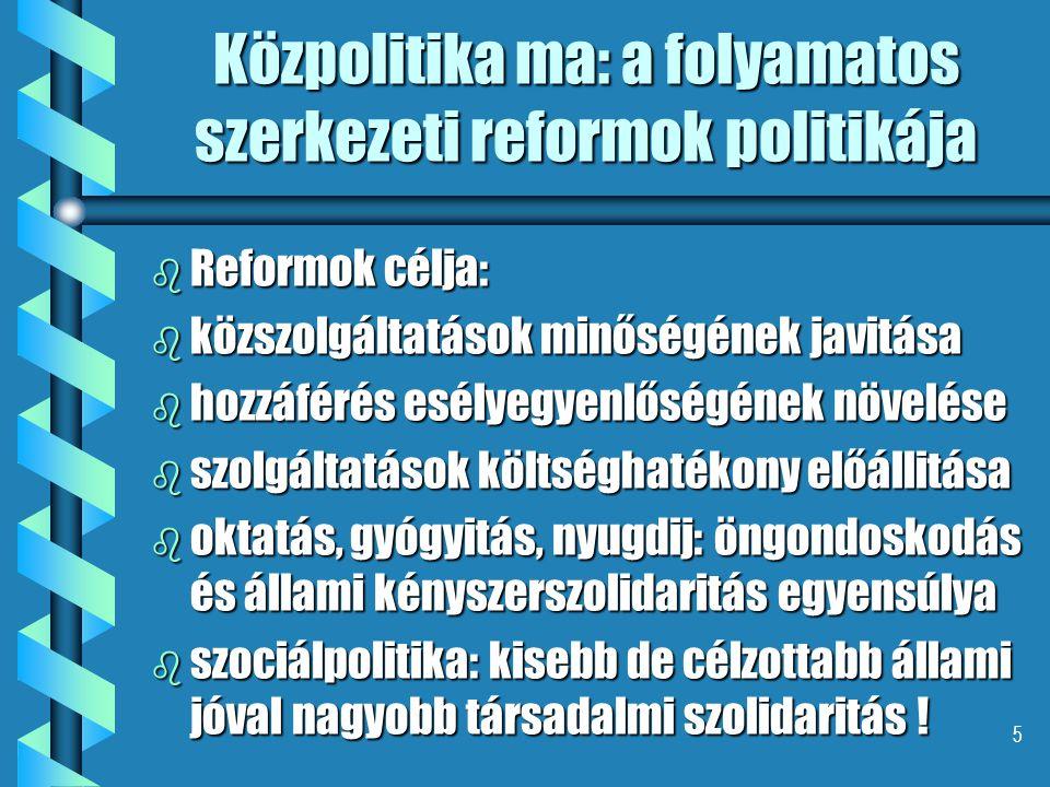 5 Közpolitika ma: a folyamatos szerkezeti reformok politikája b Reformok célja: b közszolgáltatások minőségének javitása b hozzáférés esélyegyenlőségének növelése b szolgáltatások költséghatékony előállitása b oktatás, gyógyitás, nyugdij: öngondoskodás és állami kényszerszolidaritás egyensúlya b szociálpolitika: kisebb de célzottabb állami jóval nagyobb társadalmi szolidaritás !
