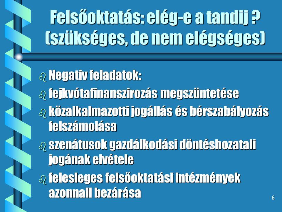 6 Felsőoktatás: elég-e a tandij ? (szükséges, de nem elégséges) b Negativ feladatok: b fejkvótafinanszirozás megszüntetése b közalkalmazotti jogállás