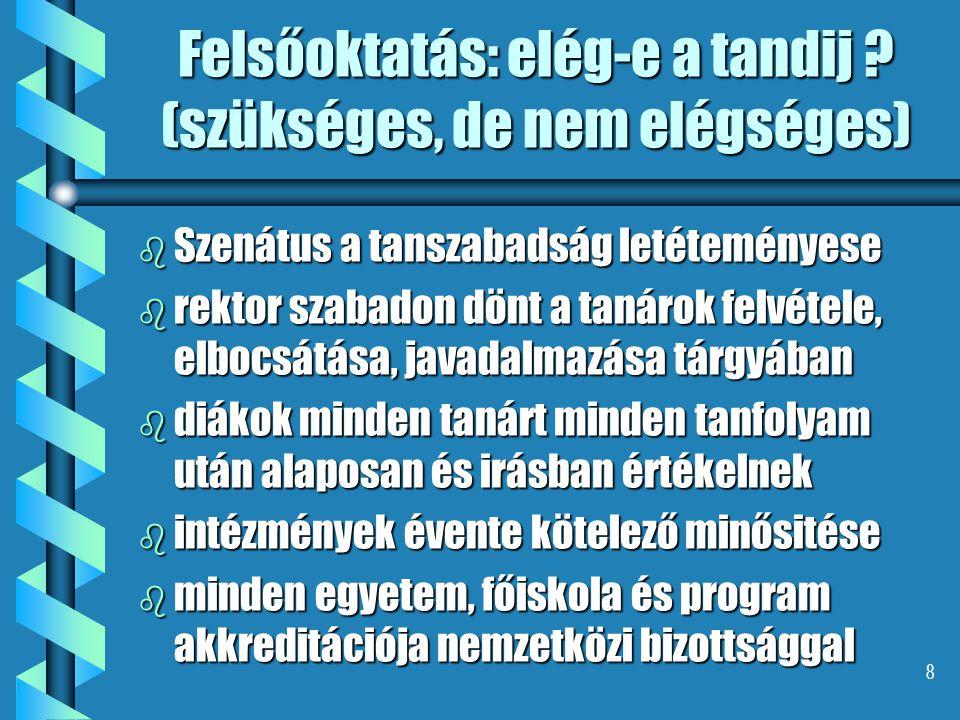 8 Felsőoktatás: elég-e a tandij ? (szükséges, de nem elégséges) b Szenátus a tanszabadság letéteményese b rektor szabadon dönt a tanárok felvétele, el