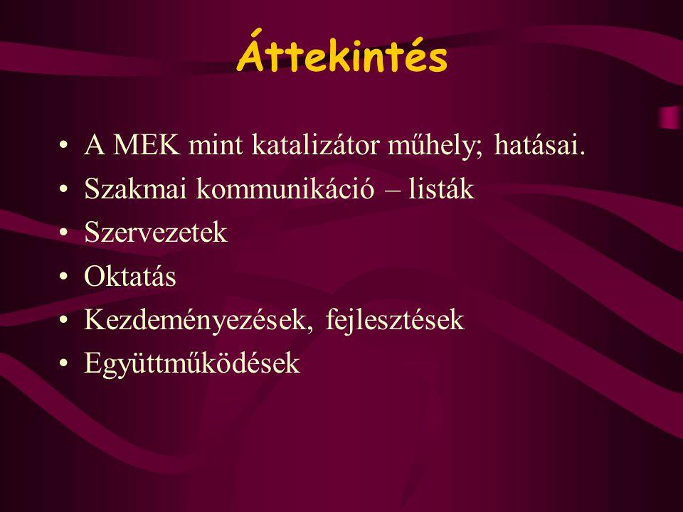 Áttekintés •A MEK mint katalizátor műhely; hatásai. •Szakmai kommunikáció – listák •Szervezetek •Oktatás •Kezdeményezések, fejlesztések •Együttműködés
