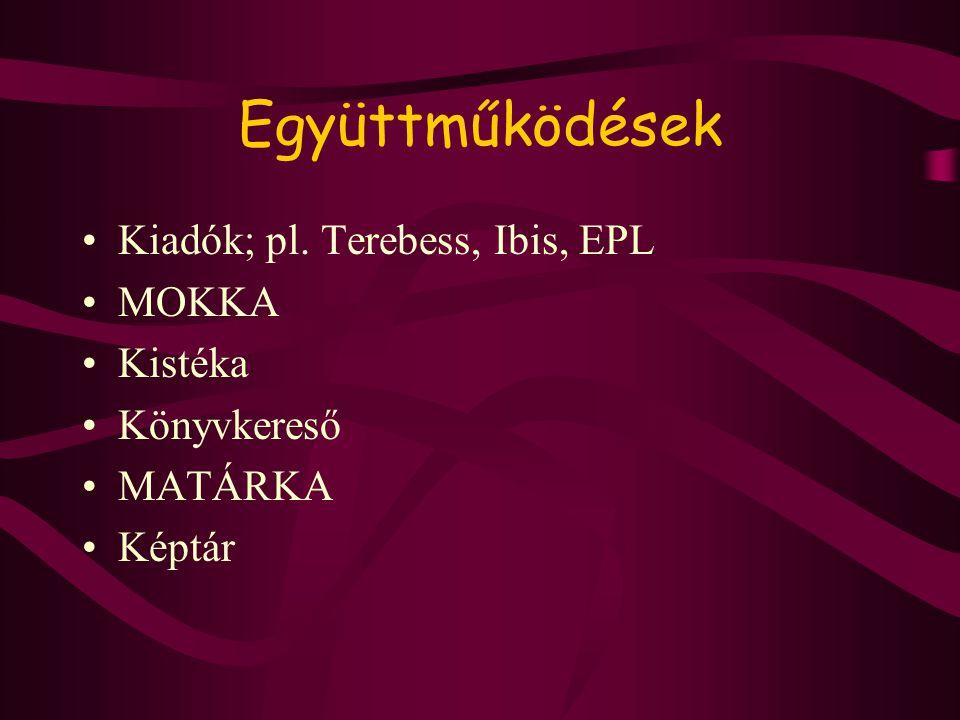Együttműködések •Kiadók; pl. Terebess, Ibis, EPL •MOKKA •Kistéka •Könyvkereső •MATÁRKA •Képtár