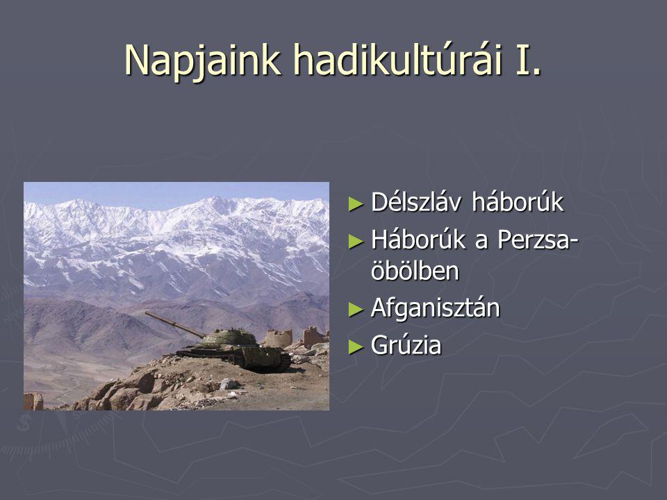 Napjaink hadikultúrái I. ► Délszláv háborúk ► Háborúk a Perzsa- öbölben ► Afganisztán ► Grúzia