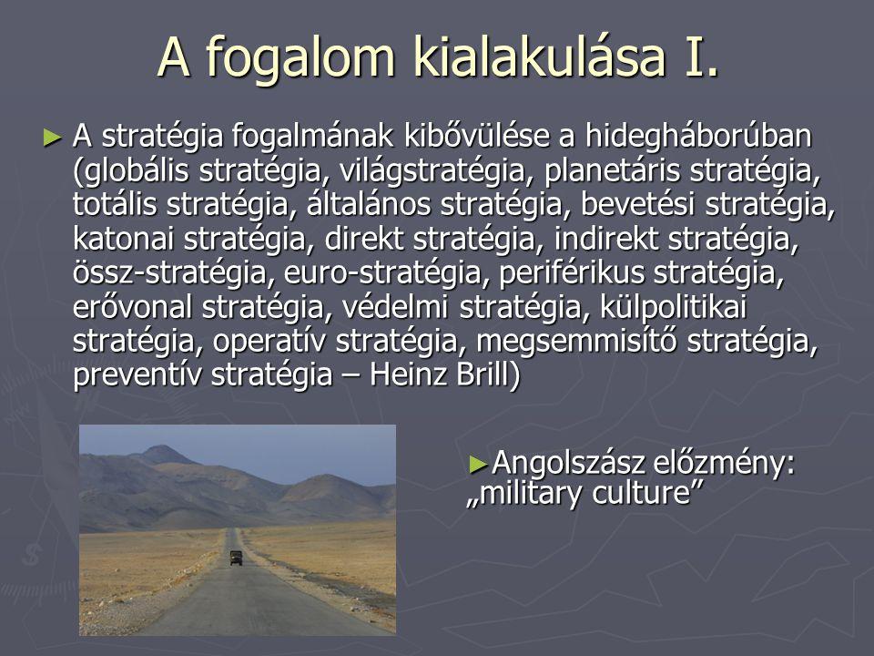 A fogalom kialakulása I. ► A stratégia fogalmának kibővülése a hidegháborúban (globális stratégia, világstratégia, planetáris stratégia, totális strat