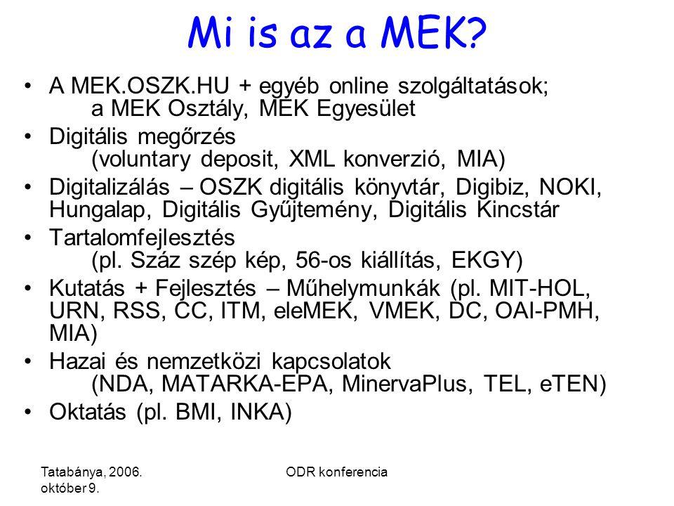 ODR konferencia Mi is az a MEK.