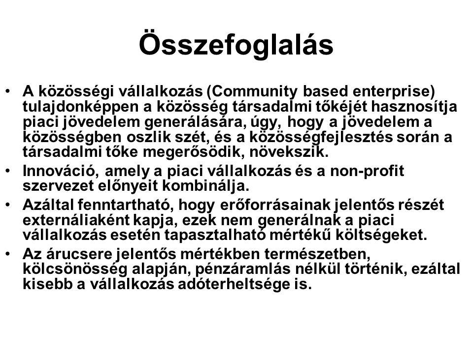 Összefoglalás •A közösségi vállalkozás (Community based enterprise) tulajdonképpen a közösség társadalmi tőkéjét hasznosítja piaci jövedelem generálás