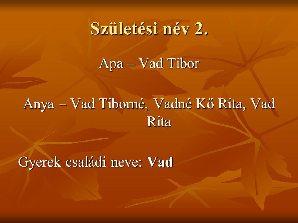 Születési név 3. Apa – Vad Tibor Anya – Vad-Kő Rita Gyerek családi neve:  Vad  Vad-Kő
