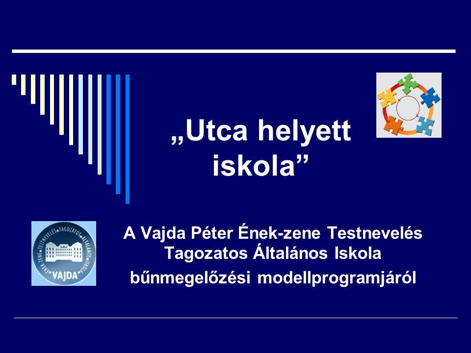 """""""Utca helyett iskola A Vajda Péter Ének-zene Testnevelés Tagozatos Általános Iskola bűnmegelőzési modellprogramjáról"""
