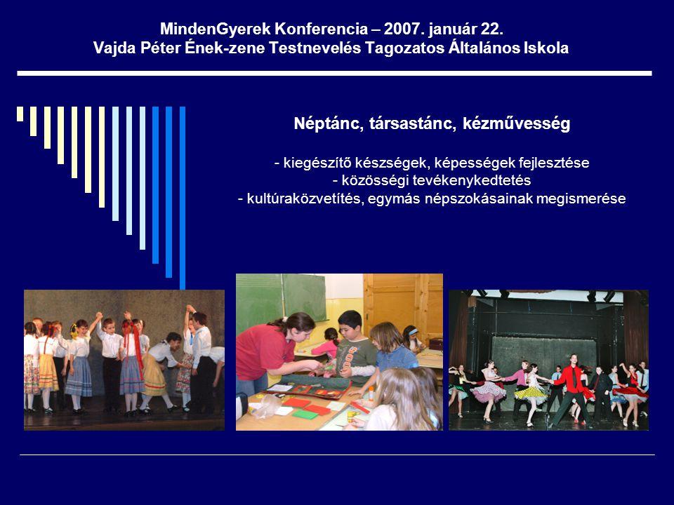 MindenGyerek Konferencia – 2007. január 22. Vajda Péter Ének-zene Testnevelés Tagozatos Általános Iskola Néptánc, társastánc, kézművesség - kiegészítő