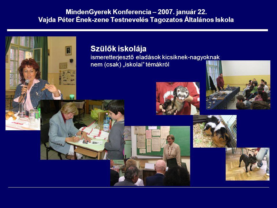 MindenGyerek Konferencia – 2007. január 22. Vajda Péter Ének-zene Testnevelés Tagozatos Általános Iskola Szülők iskolája ismeretterjesztő eladások kic